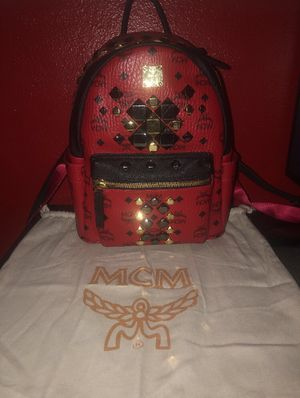 Red studded mcm backpack authentic for Sale in Industry, CA