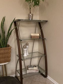 """Glass Shelf / Shelves 5ft Tall By 30"""" Wide By 18"""" Deep / Bookshelf Bookcase / Storage Shelves Vertical Stand Excellent Condition for Sale in Glendale,  AZ"""