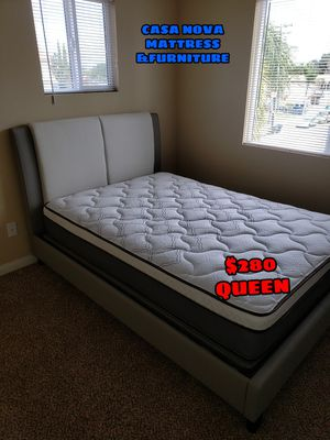 BRAND NEW BED FRAME QUEEN IN BOX WITH MATTRESS EURO-PILLOW TOP INCLUDED $280 for Sale in Compton, CA