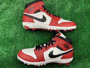 NIKE Air Jordan 1 Bred TD Cleats Black/Red Football Men's AR5604-061 Size 10.5 for Sale in Richmond, VA
