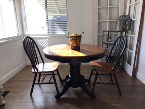 Heavy dining room table with 4 identical chairs just 2 pictured l will deliver for a fee items must be viewed and payed before delivery for Sale in Lodi, CA