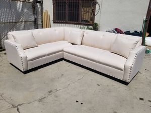 NEW 7X9FT PEARL FABRIC SECTIONAL COUCHES for Sale in Las Vegas, NV