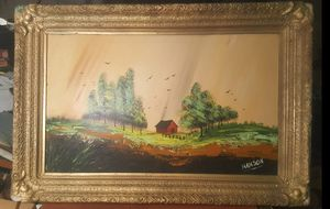 Very old 43×28 frame with painting on board sign HANSON for Sale in Queens, NY