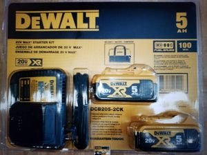 DEWALT 20V MAX (2) 5.0AH BATTERIES, CHARGER & BAG DCB205-2CK for Sale in Weatherford, TX