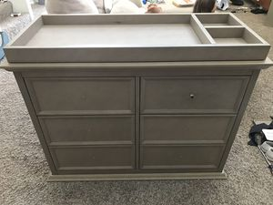 Dresser grey washed with Changing Table Tray for Sale in Chandler, AZ