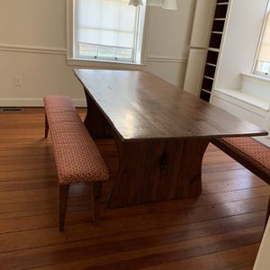 42 X 84 Pine Antique Table With Two Padded Benches for Sale in Farmville, VA
