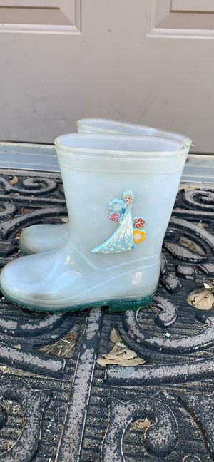 Disney Frozen Elsa Anna Clear Girls Toddlers Rain boots size 10 for Sale in Alpine, CA