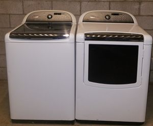 Whirlpool cabrio platinum XL kingsize capacity glass top washer and electric dryer set for Sale in Phoenix, AZ
