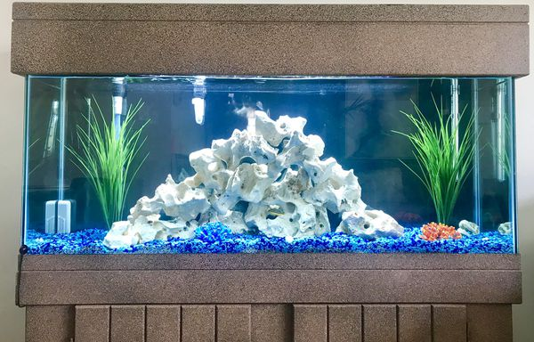 55 Gallon Aquarium, Cabinet, Filter, Led Bar Light, Holy Rock🔴 All Sold Separately. Prices listed below.