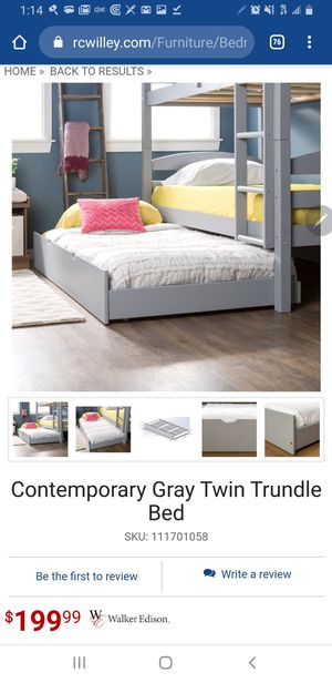 Solid Wood Twin Trundle Bed ( Grey ) for Sale in Salt Lake City, UT