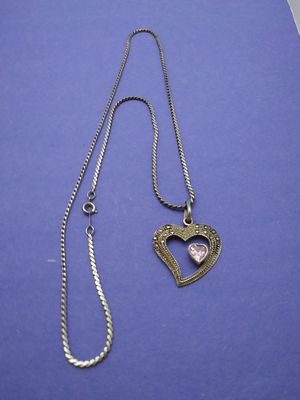 Sterling Silver Jeweled Heart and Sterling Silver Chain for Sale in Grove City, OH