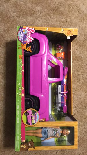 Barbie Camping Fun Pink Truck w/Kayak and Doll for Sale in Goddard, KS