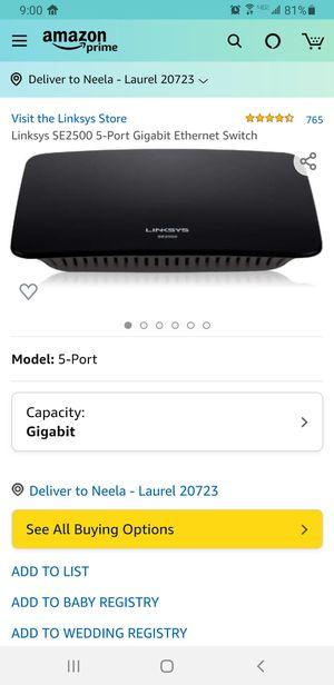 Linksys SE2500 5-Port Gigabit Ethernet Switch for Sale in Laurel, MD