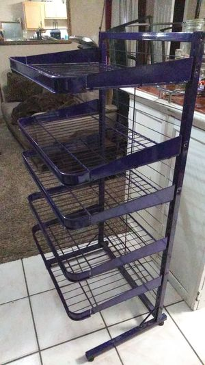 Metal purple display case with five justable shelves for Sale in Spring, TX