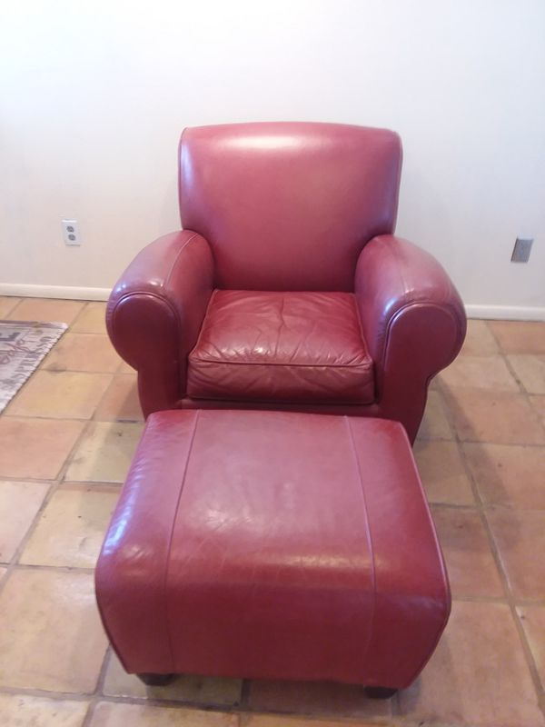 Pottery Barn Red Leather Chair Amp Ottoman For Sale In