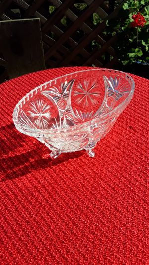 Vintage Cut Glass Lead Crystal Footed Oval Bowl for Sale in Sumner, WA