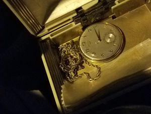 Hamilton super rare pocket watch 18k with gold chain for Sale in Chicago, IL