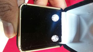 14k White Gold and 14k yellow Gold earring with Round CZ Diamond and Princess Cut CZ Diamond. for Sale in Round Rock, TX