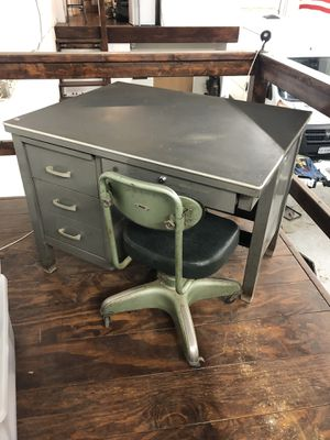 Vintage Antique Industrial Desk and Chair Factory Machine Age Eames for Sale in Rockville, MD