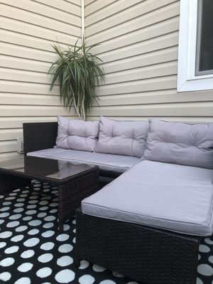 L shape outdoor furniture wicker patio set for Sale in Chesapeake, VA