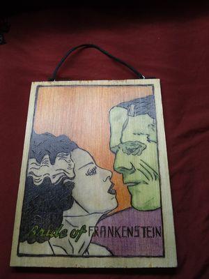 Bride of Frankenstein burn in wood wall art. for Sale in Smithfield, NC