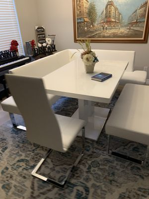 Gorgeous white chrome Corner dining set dinette kitchen table with corner sectional benches & chair for Sale in Peoria, AZ