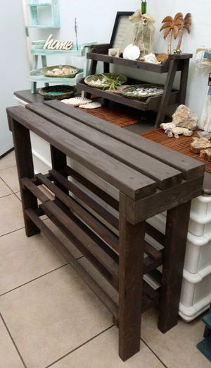 """30""""H X 40""""W X 12""""D (3 Planks) 🌱Solid Wood Entryway Console/a Coffee Buffet Table with 2 Shelves ::: Rustic Havana Coffee for Sale in Las Vegas, NV"""