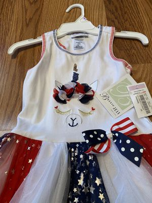 New Bonnie and Jean sleeveless Red, White and blue girls sz6 dress with lace and stars. for Sale in Orlando, FL