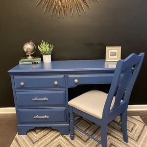 Solid Wood Blue Desk And Chair for Sale in Fuquay-Varina, NC