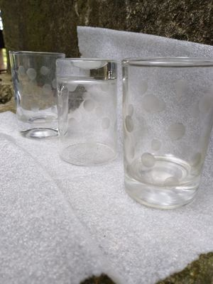 Vintage spotted frosted bar glasses set of 3 for Sale in Houston, TX