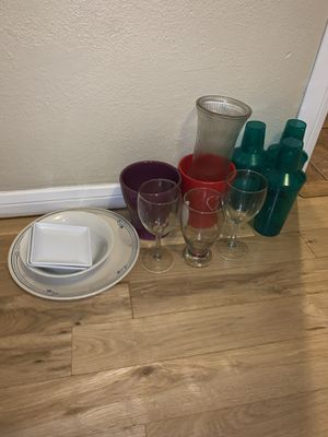 FREE cups, plates, flower vases, wine glasses, mix drink shakers for Sale in Whittier, CA