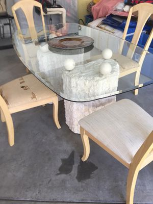 Dining room beveled glass table with stone bases for Sale in Chelan, WA