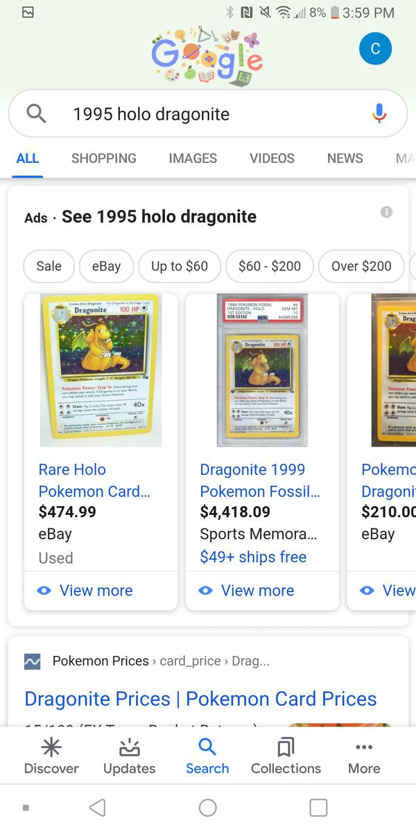 2 1995 fossil collection holo draganite pokemon cards