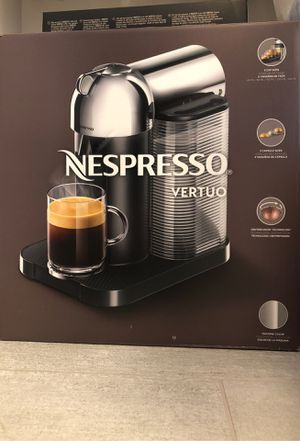 Nespresso Vertuo chrome coffee maker along with 20 capsules Box never opened brand new Sells for 199 +20 for capsules Great Xmas give to tha for Sale in Irvine, CA