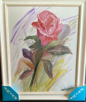 Rose Acrylic Painting -Framed for Sale in Tijuana, MX