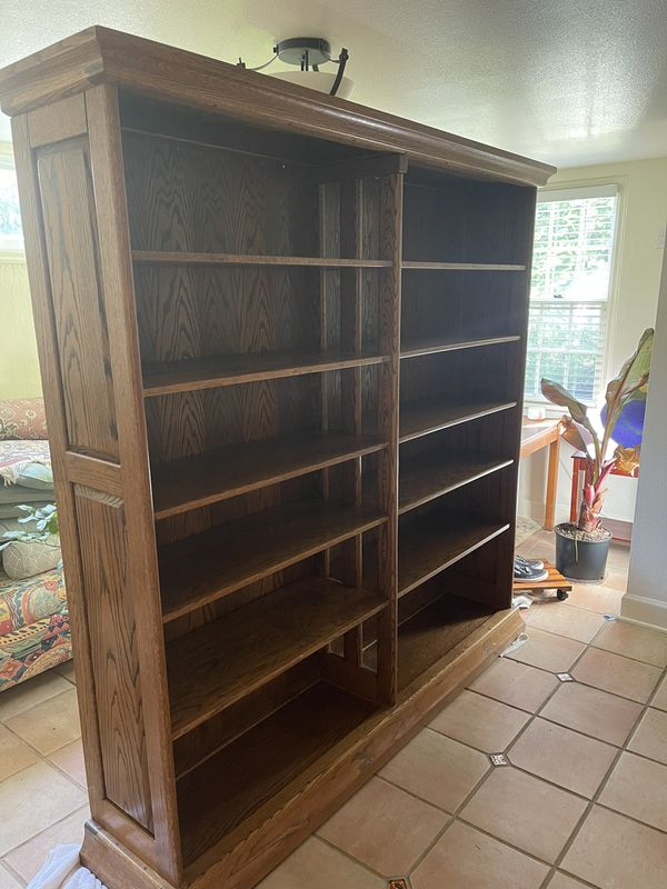 Solid Oak Bookshelf With Adjustable Shelves