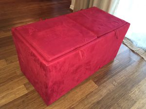 Stylish red ottoman with storage and trays for Sale in Fairfax, VA