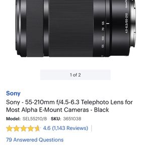 Brand New Sony - 55-210mm f/4.5-6.3 Telephoto Lens for Most Alpha E-Mount Cameras - Black for Sale in Las Vegas, NV