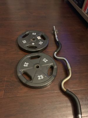 Curling Bar with 25 lbs weights for Sale in Los Angeles, CA