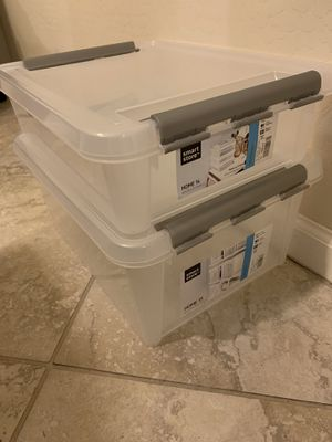 Great Deal! Container Store Smart Store Set of 2 one medium, one small, stackable for Sale in Phoenix, AZ