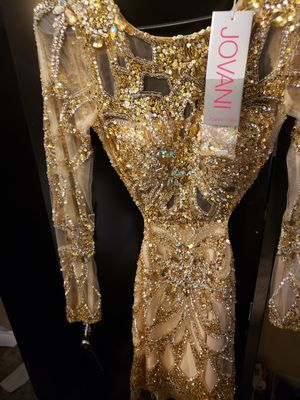 Jovani shear gold rhinestone backless dress for Sale in Chicago, IL