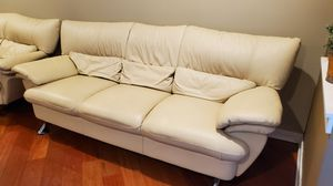 Off-white leather 2 seater and 3 Seater Couches for Sale in Chicago, IL
