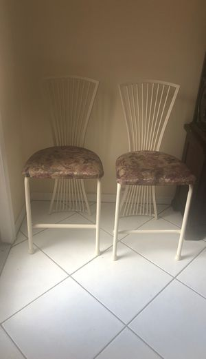 2 white metal chairs for $50. Good condition for Sale in Margate, FL