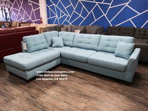 Real Showroom 😁 We Finance - Light Blue Reversible Chaise Couch Sofa Sectional With Ottoman for Sale in Hawthorne, CA