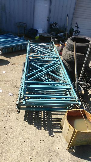 Metal shelving 10 ft tall 3 ft wide 35 ft long for Sale in Bonney Lake, WA