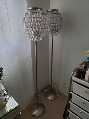 Silver floor lamps with crystal shades for Sale in Hollywood, FL
