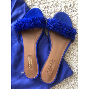 New aquazzura wild thing fringed slides for Sale in Columbus, OH