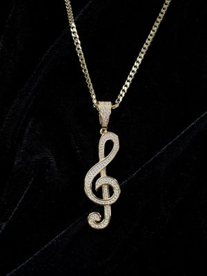 ⭐️GET IT FOR CHRISTMAS NOW!!🌲⭐️ MEGA SALE* MUSIC NOTE FULL DIAMONDS CZ 18K GOLD CHAIN for Sale in North Bay Village, FL