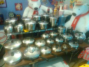 Very large 60 piece set copper bottom Revere cookware for Sale in Everett, WA