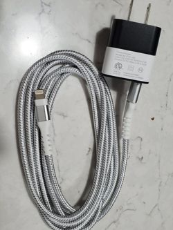 New (3, 6, 10ft) Apple iPhone, iPad Lightning Nylon Charge Cable w/ 2 Port USB Charger (iPhone Max XS XR 8 Plus 7 Plus 6s 5s 5c Air iPad Mini) White for Sale in Irvine,  CA